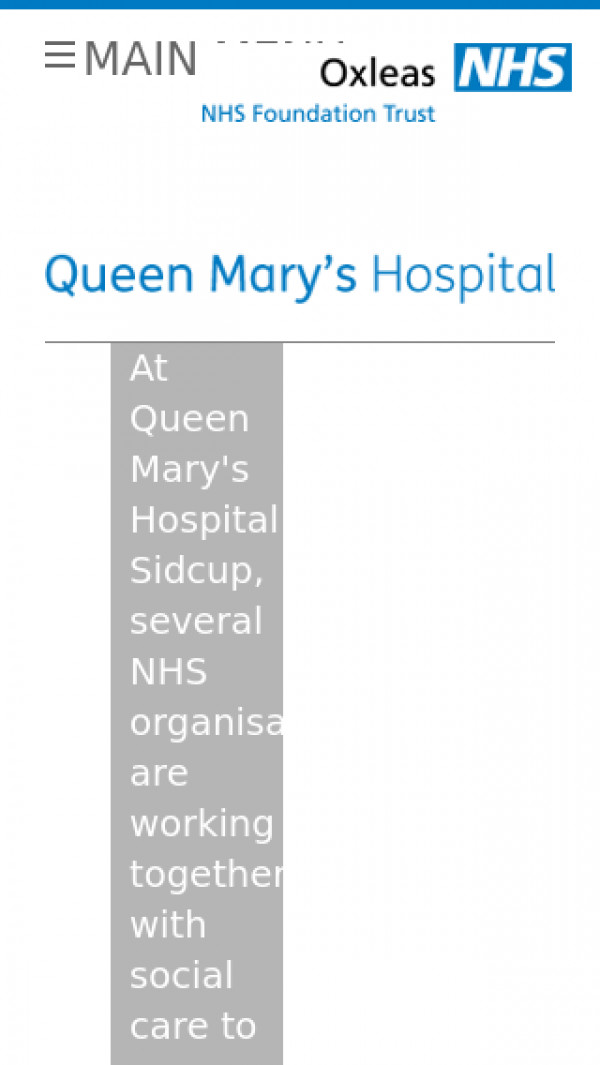 Mobile screenshot of Queen Mary's Hospital website