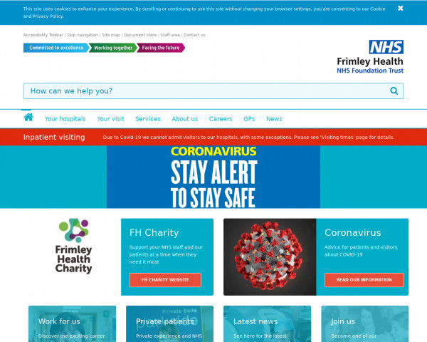 Desktop screenshot of Frimley Health NHS Foundation Trust website