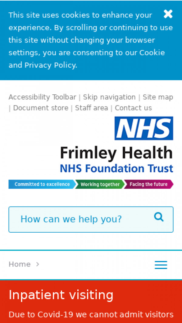 Mobile screenshot of Frimley Health NHS Foundation Trust website