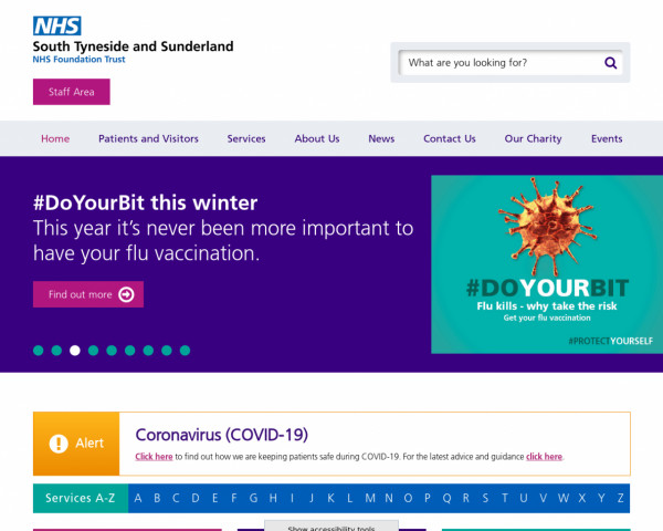Screenshot of Home :: South Tyneside and Sunderland NHS Foundation Trust