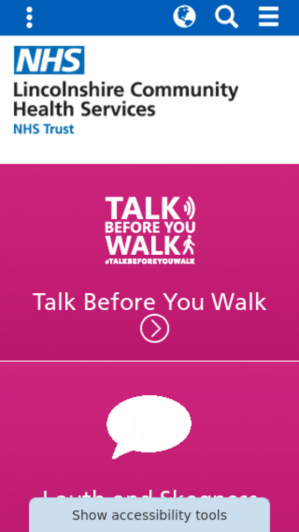 Mobile screenshot of Lincolnshire Community Health Services NHS Trust website