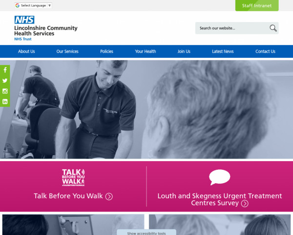 Desktop screenshot of Lincolnshire Community Health Services NHS Trust website