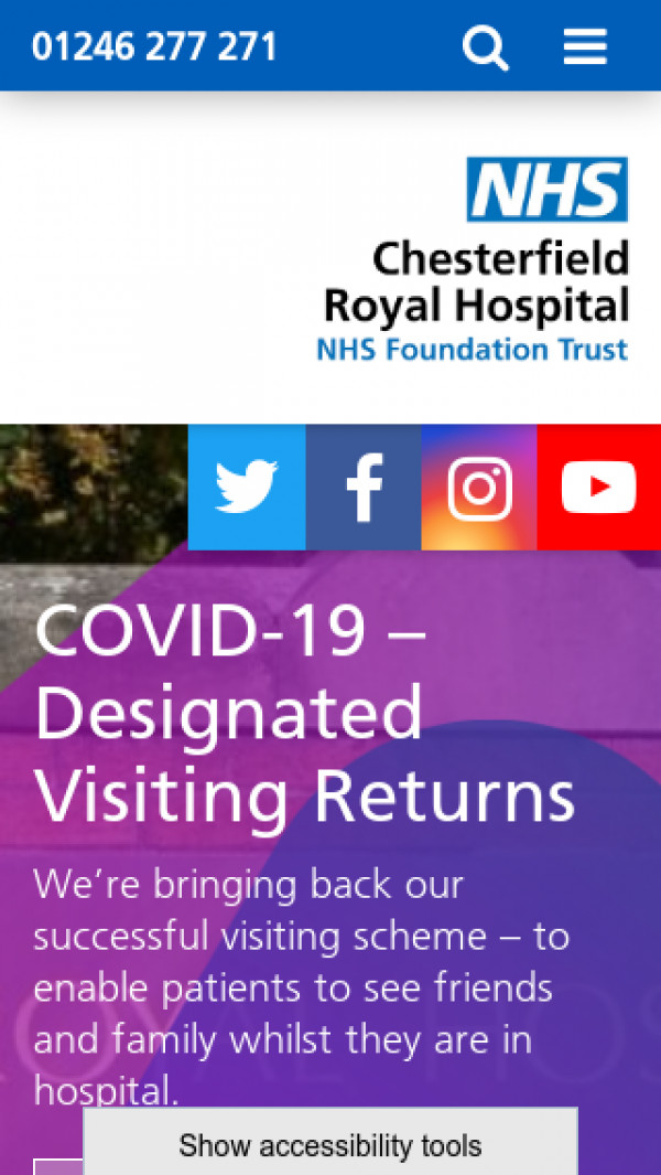 Mobile screenshot of Chesterfield Royal Hospital NHS Foundation Trust website