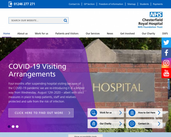 Desktop screenshot of Chesterfield Royal Hospital NHS Foundation Trust website
