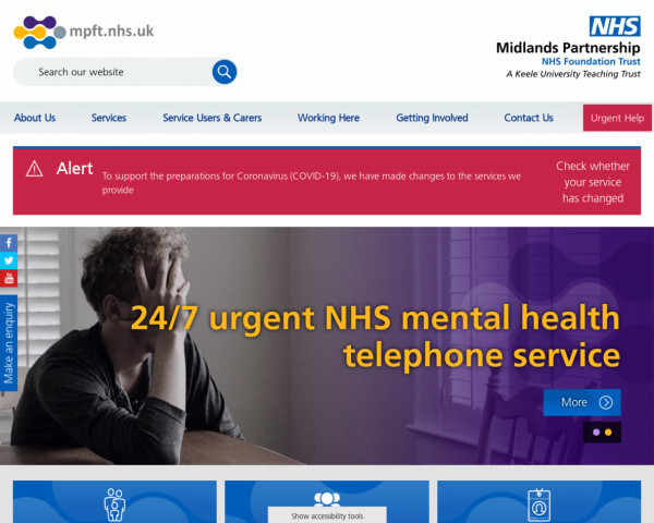 Desktop screenshot of Midlands Partnership NHS Foundation Trust website