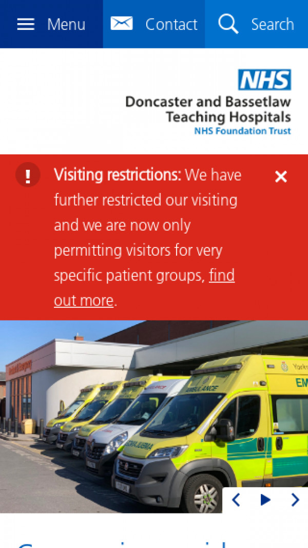 Mobile screenshot of Doncaster and Bassetlaw Teaching Hospitals NHS Foundation Trust website
