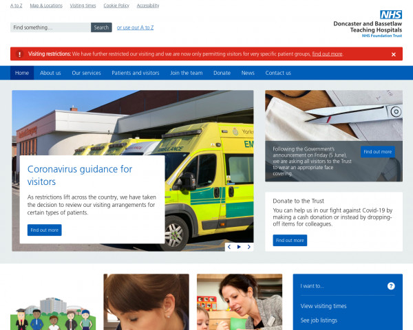 Screenshot of Doncaster and Bassetlaw Teaching Hospitals NHS Foundation Trust