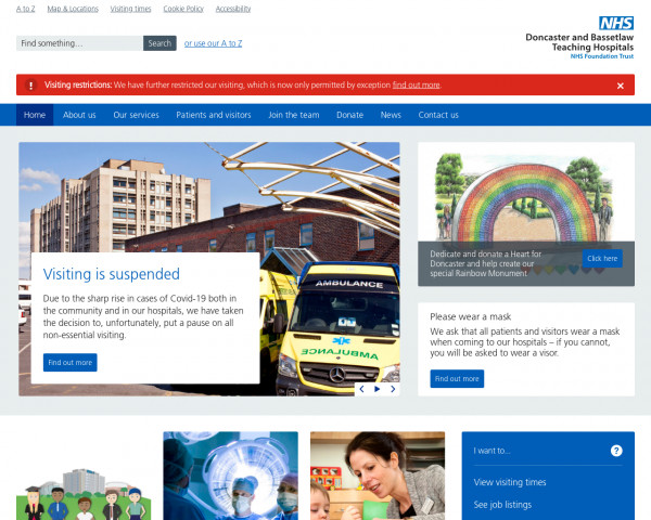 Desktop screenshot of Doncaster and Bassetlaw Teaching Hospitals NHS Foundation Trust website