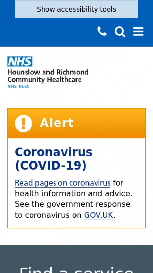 Mobile screenshot of Hounslow and Richmond Community Healthcare NHS Trust website