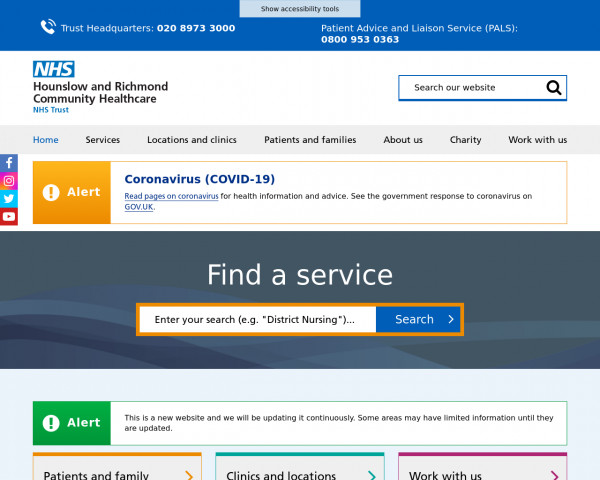 Desktop screenshot of Hounslow and Richmond Community Healthcare NHS Trust website