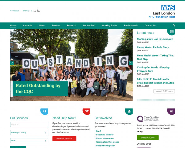 Desktop screenshot of East London NHS Foundation Trust website