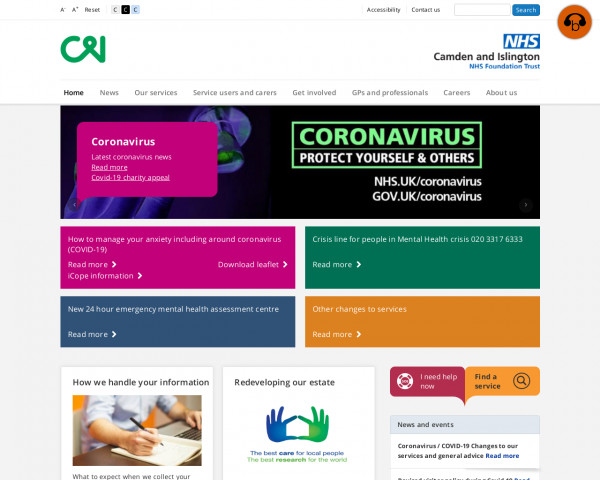 Desktop screenshot of Camden and Islington NHS Foundation Trust website