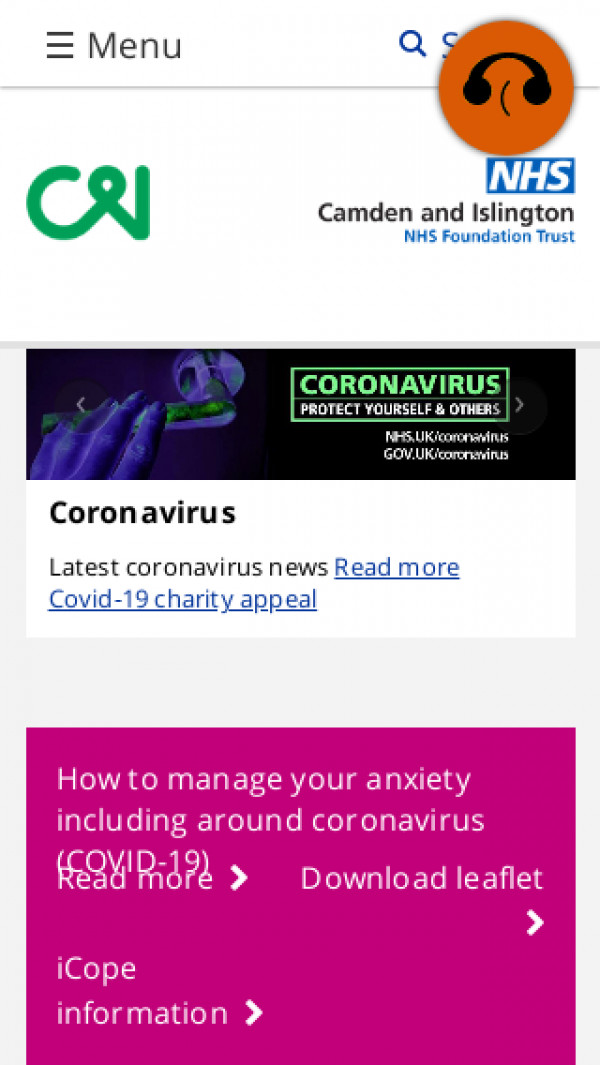 Mobile screenshot of Camden and Islington NHS Foundation Trust website