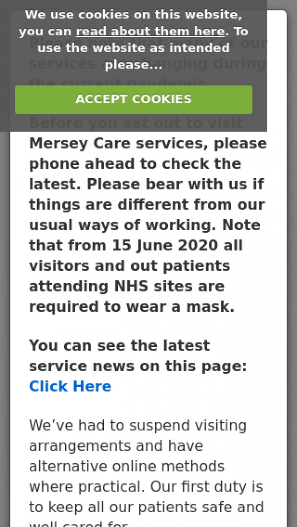 Mobile screenshot of Mersey Care NHS Foundation Trust website