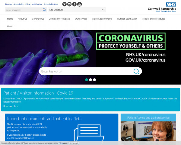Desktop screenshot of Cornwall Partnership NHS Foundation Trust website