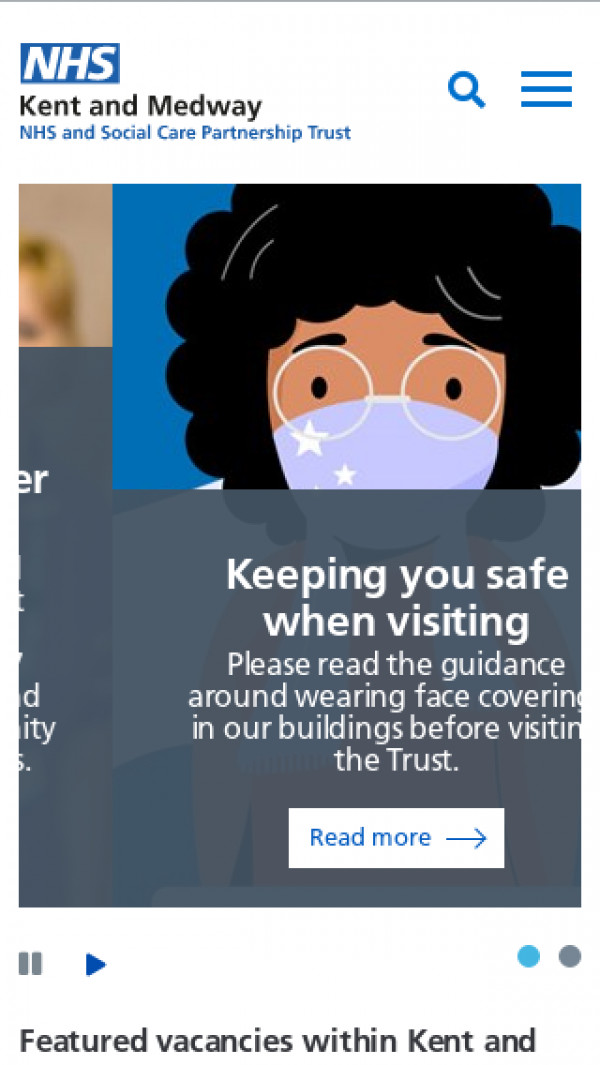 Mobile screenshot of Kent and Medway NHS and Social Care Partnership Trust website