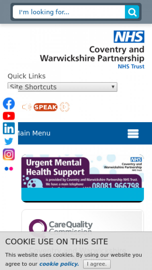 Mobile screenshot of Coventry and Warwickshire Partnership NHS Trust website
