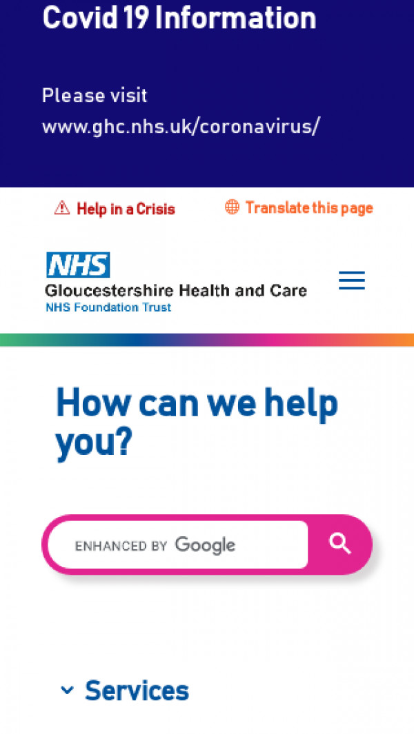 Mobile screenshot of Gloucestershire Health and Care NHS Foundation Trust website
