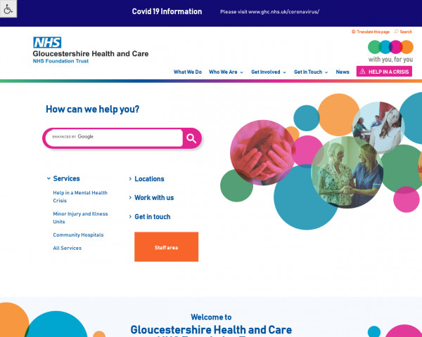Desktop screenshot of Gloucestershire Health and Care NHS Foundation Trust website