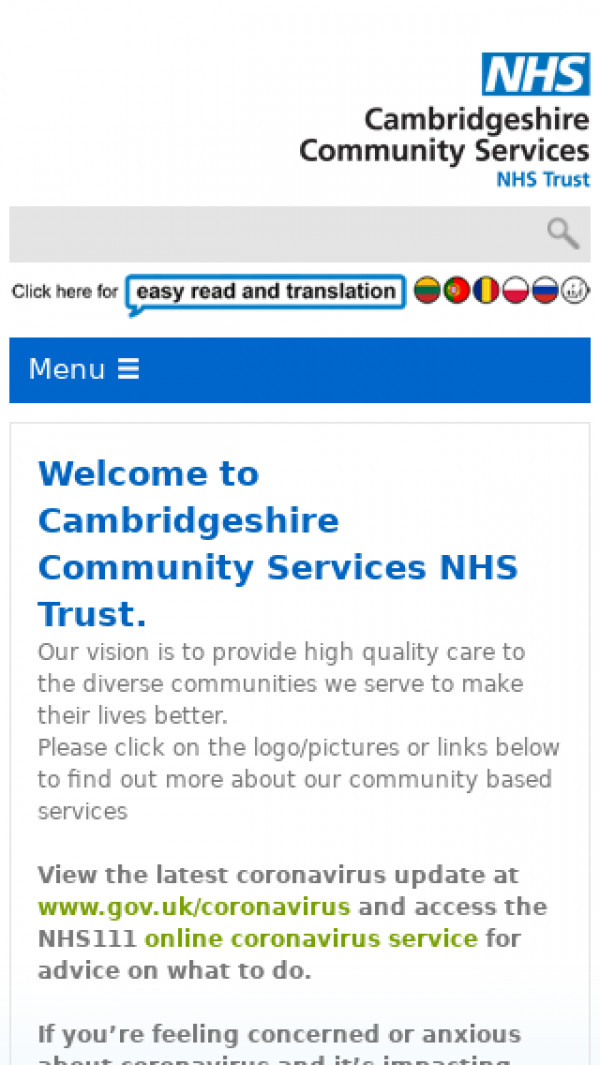 Mobile screenshot of Cambridgeshire Community Services NHS Trust website