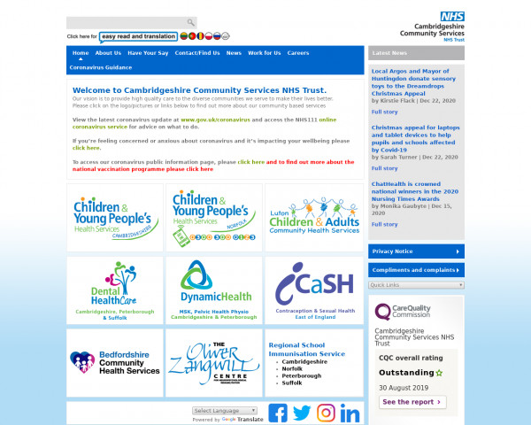 Desktop screenshot of Cambridgeshire Community Services NHS Trust website