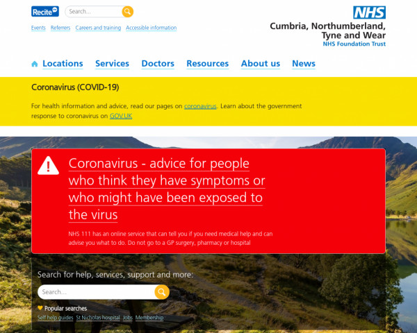 Desktop screenshot of Cumbria, Northumberland, Tyne and Wear NHS Foundation Trust website