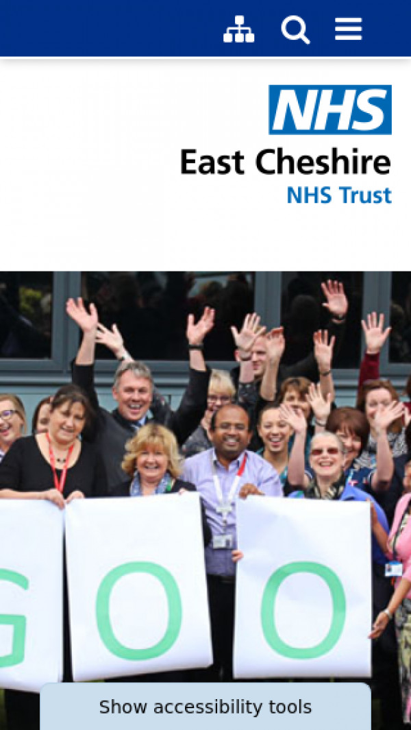Mobile screenshot of East Cheshire NHS Trust website