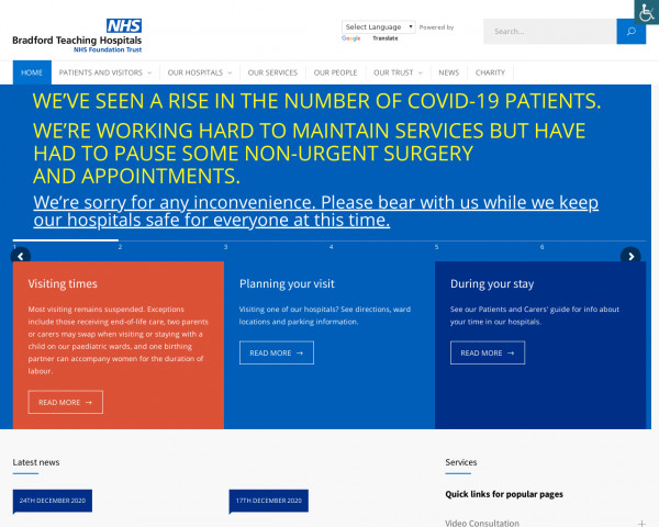 Desktop screenshot of Bradford Teaching Hospitals NHS Foundation Trust website