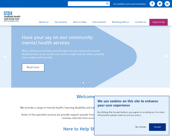 Desktop screenshot of Sheffield Health and Social Care NHS Foundation Trust website