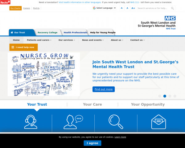 Desktop screenshot of South West London and St George's Mental Health NHS Trust website