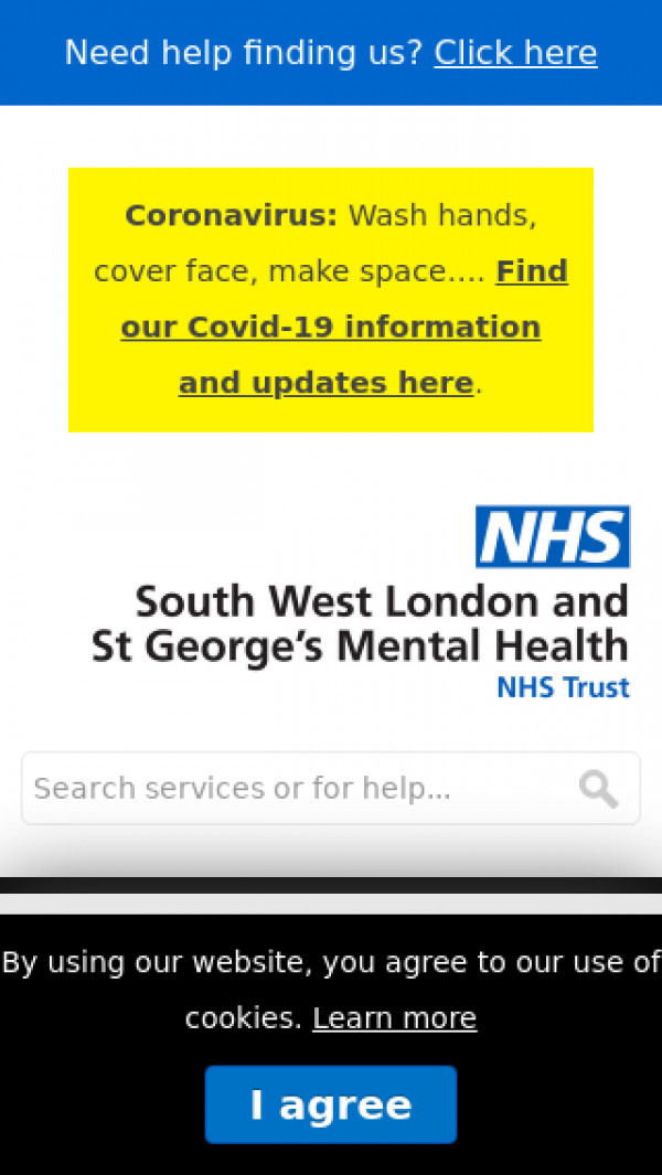 Mobile screenshot of South West London and St George's Mental Health NHS Trust website
