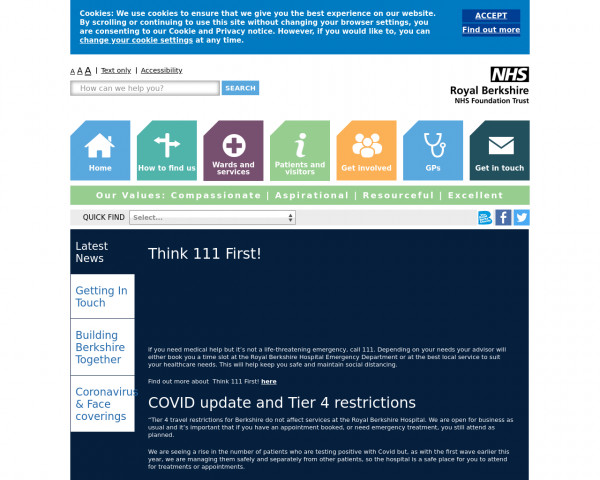 Desktop screenshot of Royal Berkshire NHS Foundation Trust website
