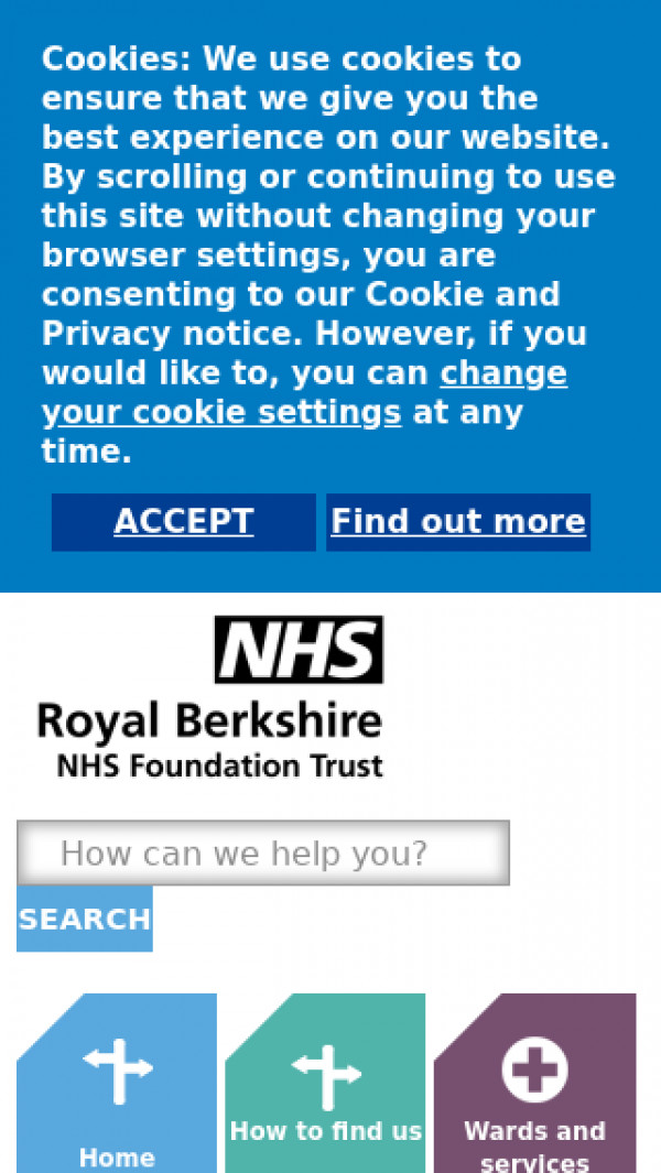Mobile screenshot of Royal Berkshire NHS Foundation Trust website