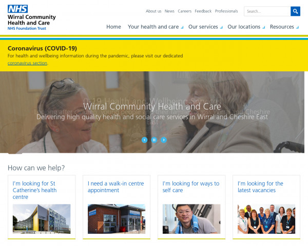 Desktop screenshot of Wirral Community NHS Foundation Trust website