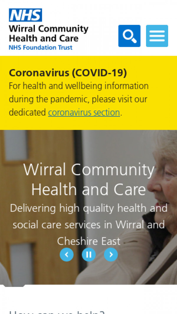Mobile screenshot of Wirral Community NHS Foundation Trust website