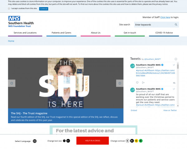 Desktop screenshot of Southern Health NHS Foundation Trust website