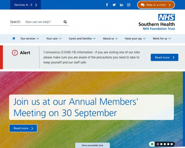 Screenshot of Home :: Southern Health NHS Foundation Trust