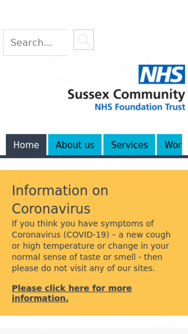 Mobile screenshot of Sussex Community NHS Foundation Trust website