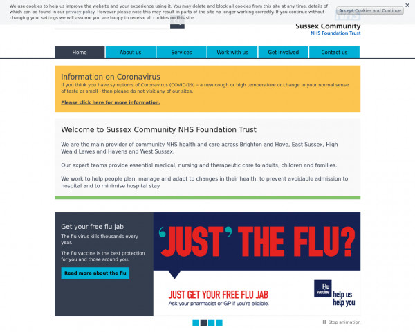 Desktop screenshot of Sussex Community NHS Foundation Trust website