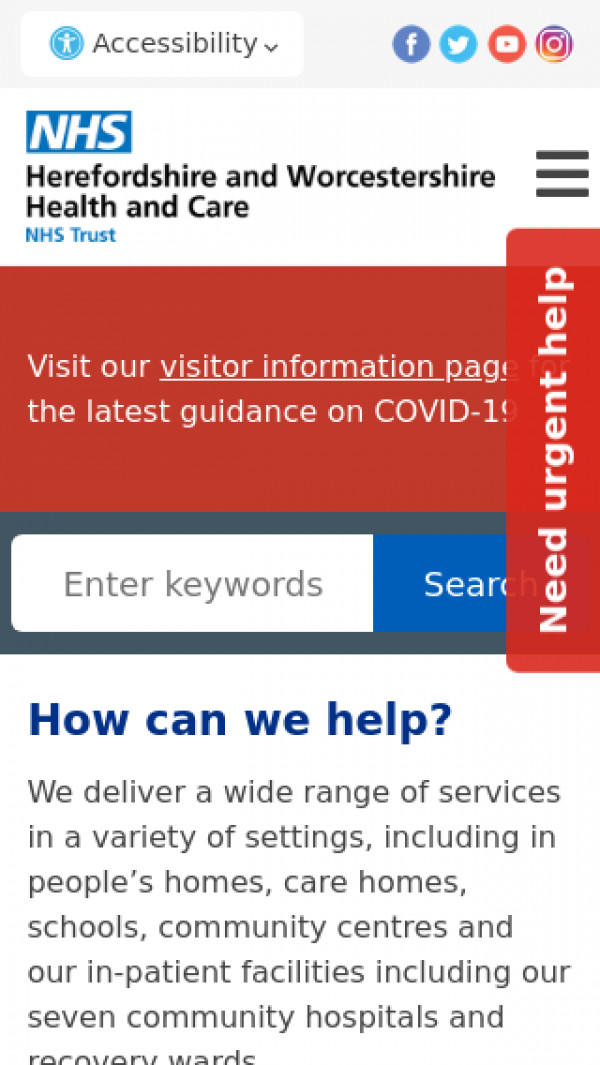 Mobile screenshot of Worcestershire Health and Care NHS Trust website