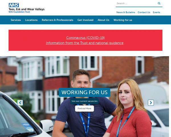 Desktop screenshot of Tees, Esk and Wear Valleys NHS Foundation Trust website