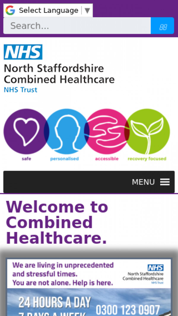 Mobile screenshot of North Staffordshire Combined Healthcare NHS Trust website