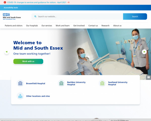 Desktop screenshot of Mid and South Essex NHS Foundation Trust website