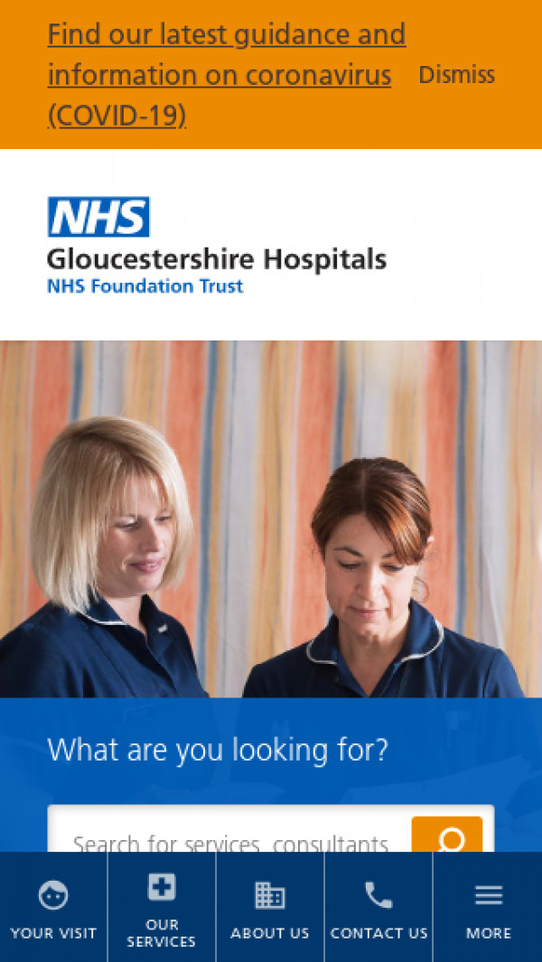 Mobile screenshot of Gloucestershire Hospitals NHS Foundation Trust website