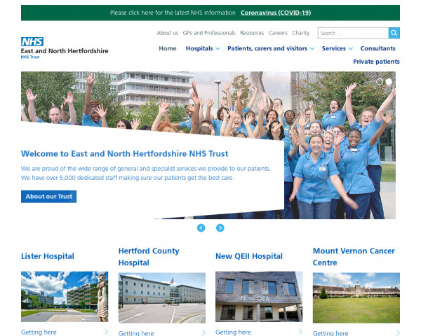 Desktop screenshot of East & North Hertfordshire NHS Trust website