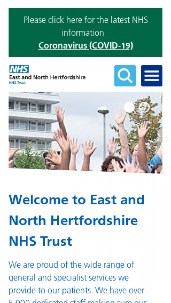 Mobile screenshot of East & North Hertfordshire NHS Trust website