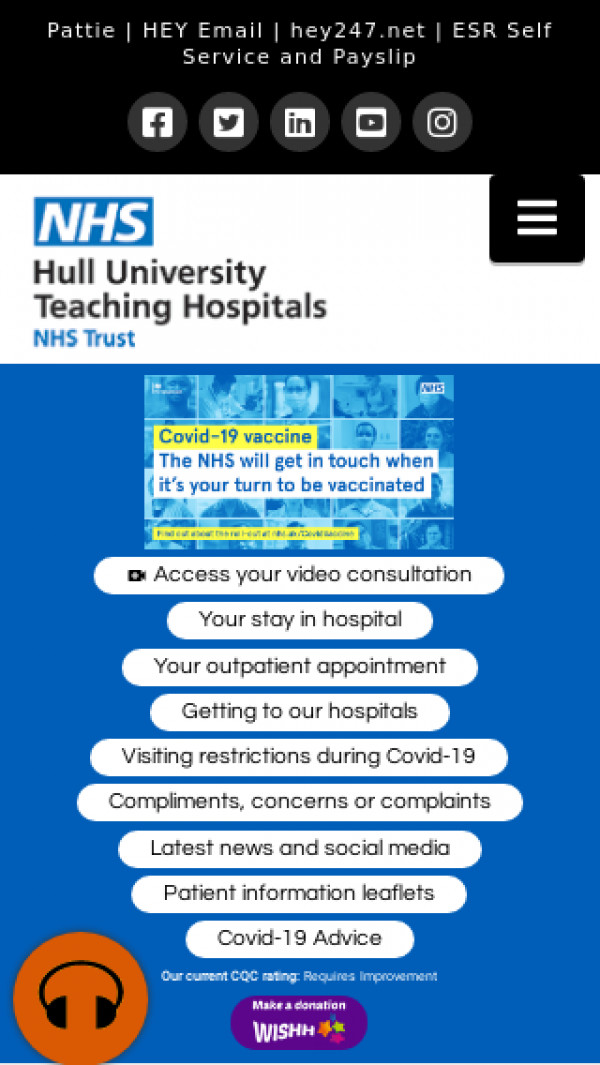 Mobile screenshot of Hull University Teaching Hospitals NHS Trust website