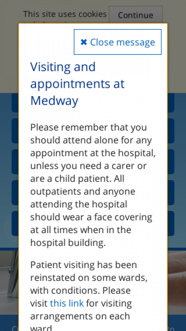 Mobile screenshot of Medway NHS Foundation Trust website