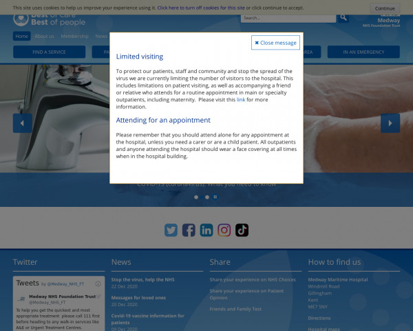 Desktop screenshot of Medway NHS Foundation Trust website