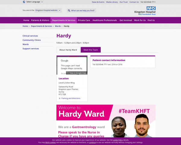 Screenshot of Kingston Hospital | Departments & Services | Wards | Hardy